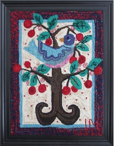 Blue Bird in Cherry Tree - SALE