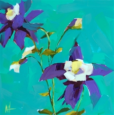 Purple Columbine Flowers - 12x12