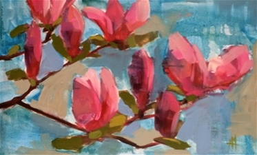 Magnolia Branches on Blue - 14x21 - SALE