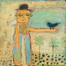 Man With Bird 24x24