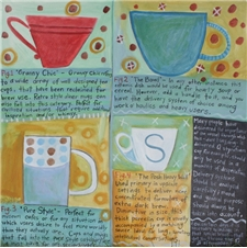 Her Many Coffee Cups 28x28 - SALE