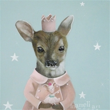 Princess & Her Doe - 12x12 - SALE