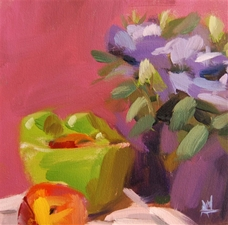 Bowl of Fruit and Lisianthus - 10x10 - PROMO PRICE
