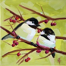 Two Chickadees No.123  - 10x10