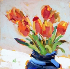 Orange Tulips in Blue Vase – 12x12 - SALE