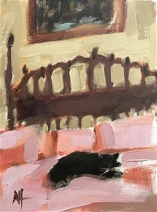 Hemingway Cat on Bed Key West - 12x9 - SALE