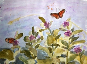 Monarch Butterflies & Milkweed – 28x21 – SALE