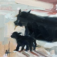 Mother Cow and Baby - 6x6