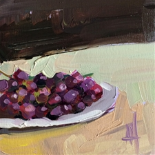 Purple Grapes on Plate – 6x6