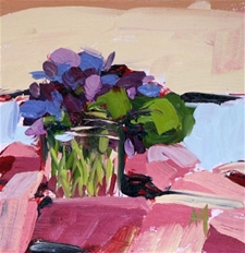 Violets in Jar No.3 - 6x6 - SALE PRICE