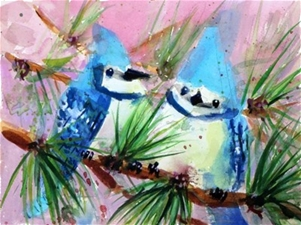 Blue Jays on Tamarack Tree - 7.75 x 10