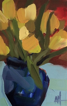 Yellow Tulips in Blue Vase - 7x11