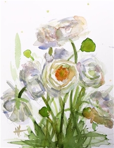 The White Ranuculus – 8x10  Watercolor – SALE