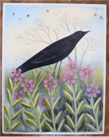 Black Bird & Marsh Flowers - SALE