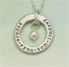 "Sterling ""open circle pearl"" Necklace"