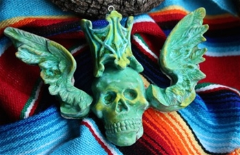 Verdigris Winged Skull - SALE