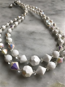 Iridescent & Milk Glass Duet Strand - SALE