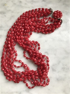 Ruby Seed Bead Necklace - SALE