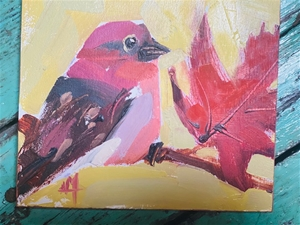 Grosbeak and Leaf - 5x6 - SALE