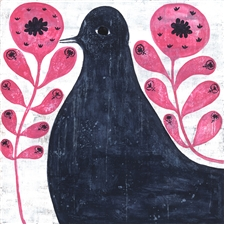 Black Bird in Flowers - 12x12
