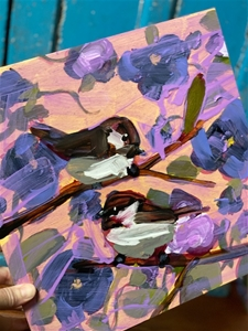 Two Chickadees & Pansies - 12x12 - SALE