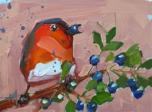 Robin and Wild Bilberries - 5x7
