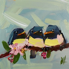 Baby Barn Swallows on Branch - 10x10