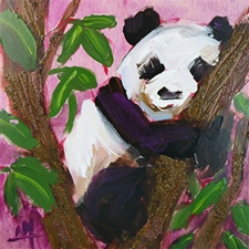 Sleepy Panda - 12x12 - SALE