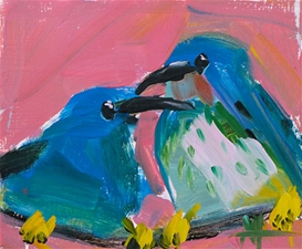 Two Shining Honeycreepers - 5x6 - SALE